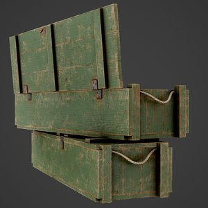 3D painted wooden ammo box