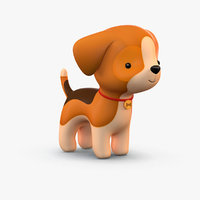cute cartoon dog 2 3D model