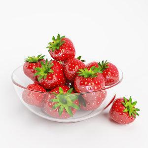 strawberries bowl 3D model