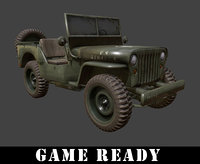 Willys Jeep WWII Army Vehicle (GAME READY )