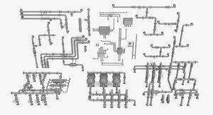 modular mega pipe pack 3D model