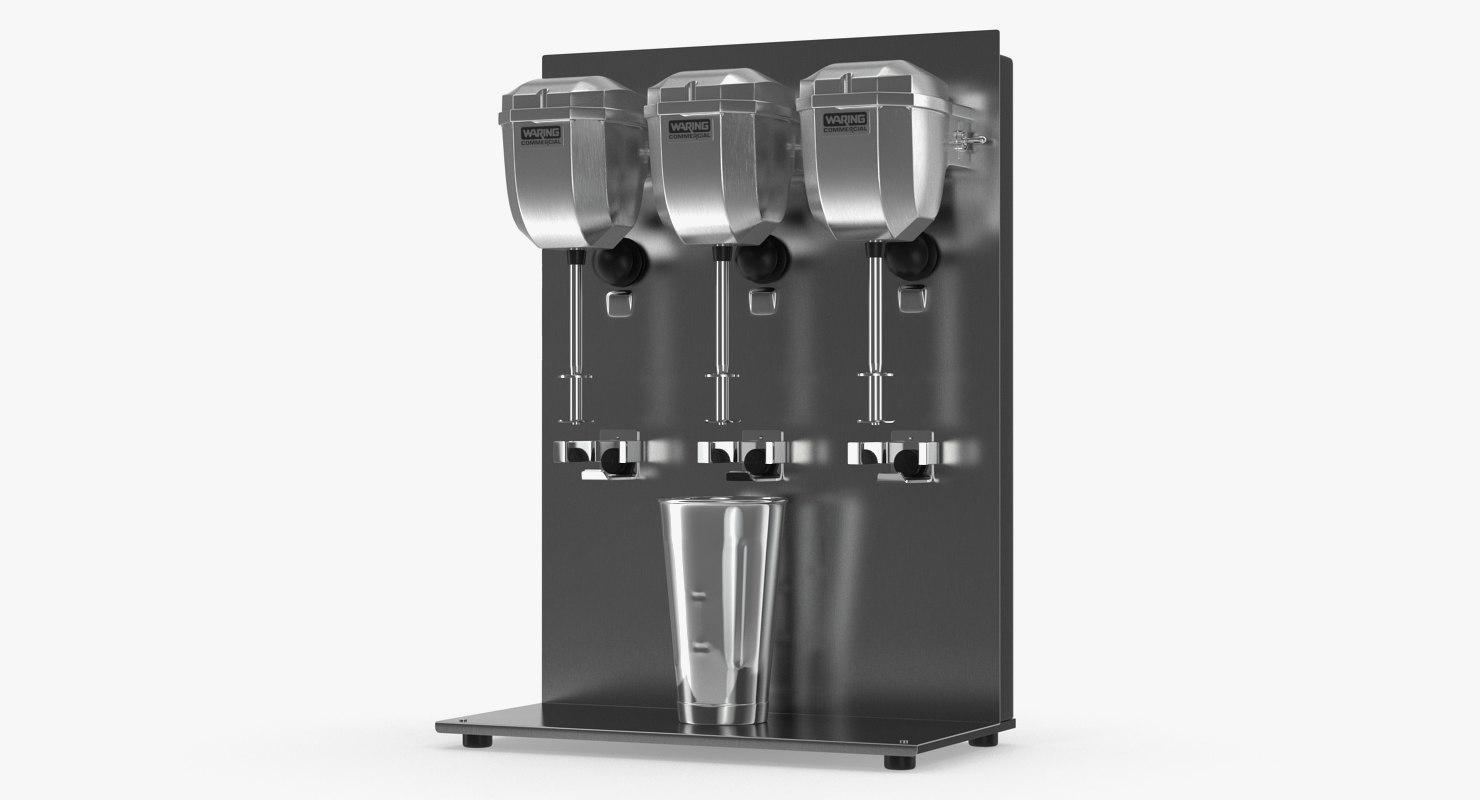 3D triple head milk shake model