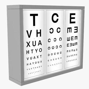 3D optotype medical eye chart