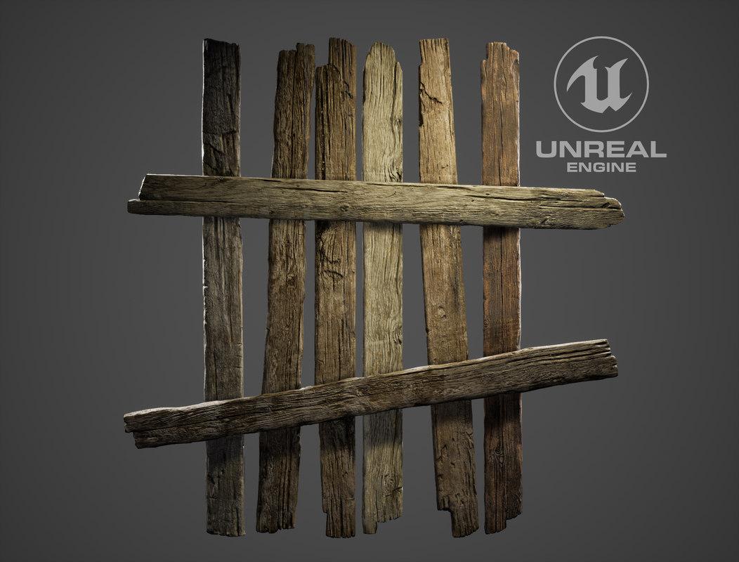 3D wood planks fence model