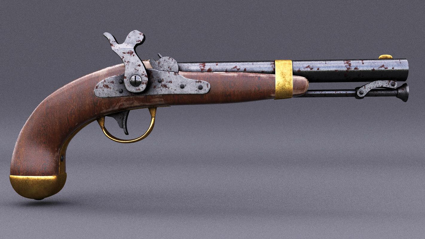 gun flintlock 3D model