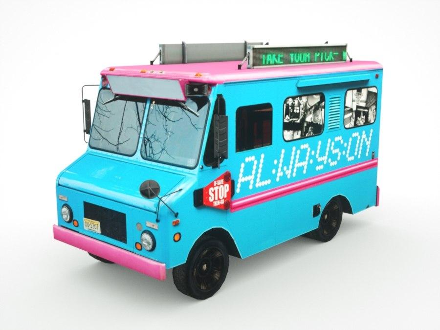 ice-cream mini-van real-time 3D model