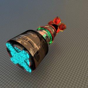 3D spaceship drive stars