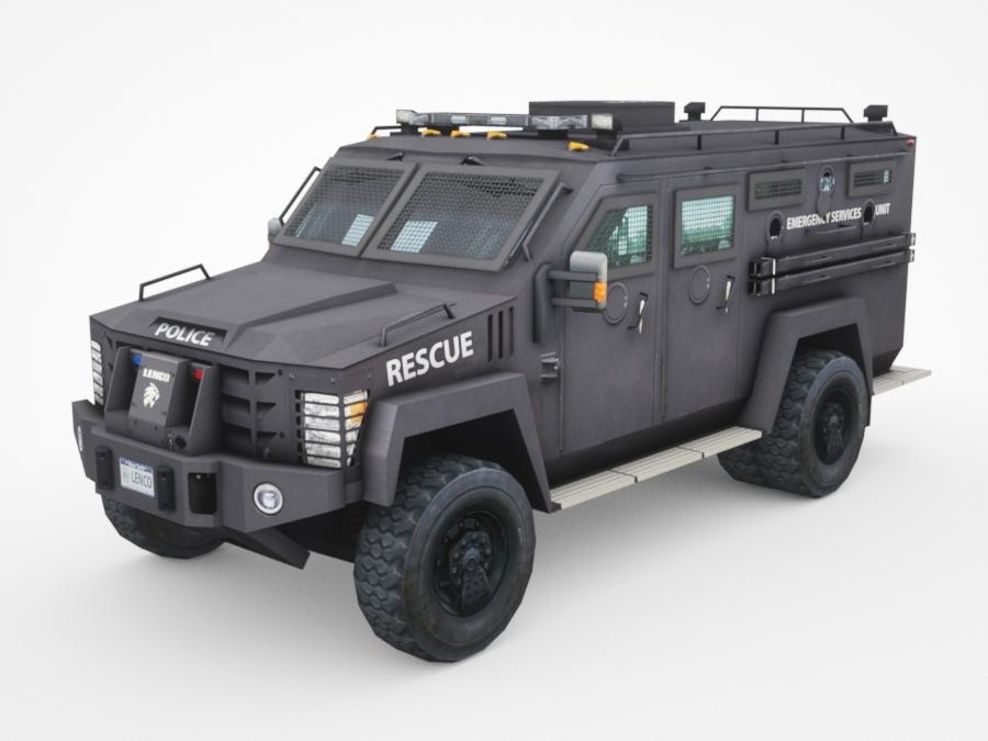 3D armored police van truck model