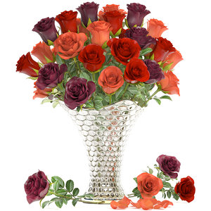 bouquet roses flowers glass vase model