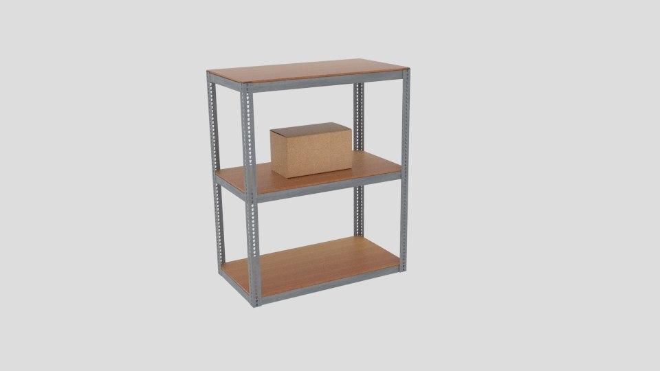 warehouse shelving industrial 3D model