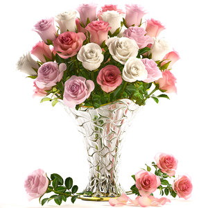 3D model bouquet flowers roses glass vase