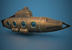 3D submarine steampunk model