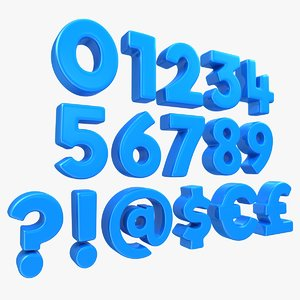 number symbol toon 3D