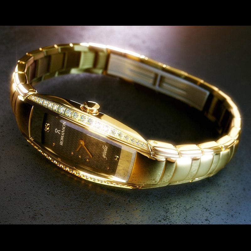 3D womens wrist watch romanson model