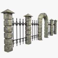 3D model stone fence