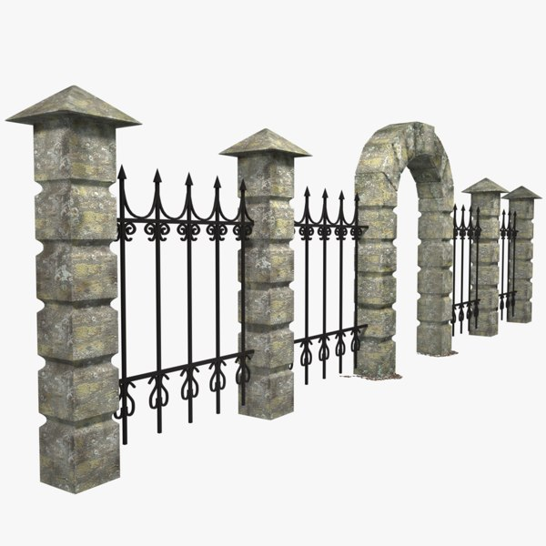 3D model stone fence