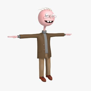 3D model funny cartoon professor