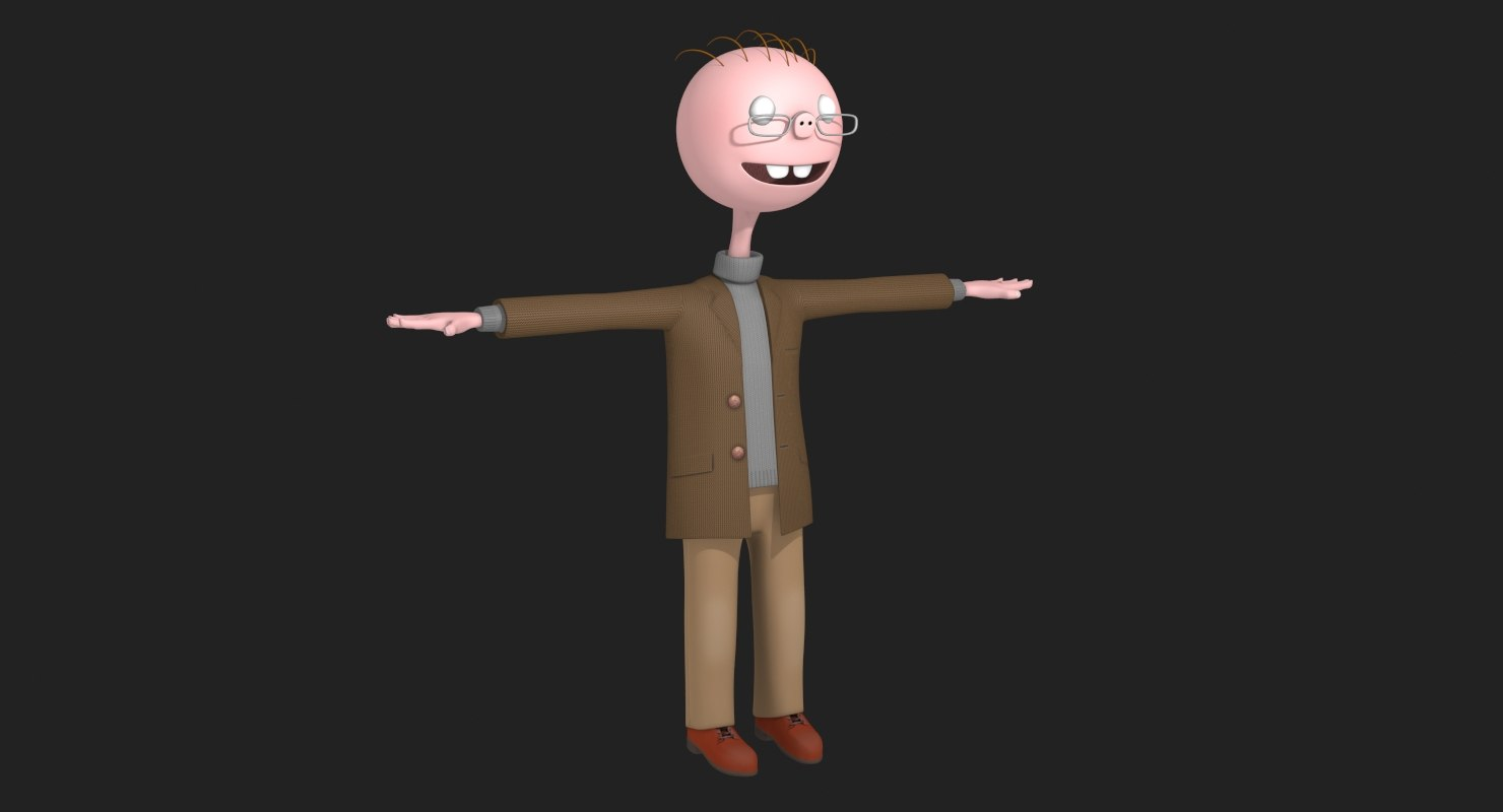 3D model funny cartoon professor