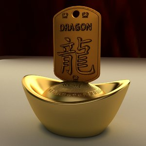 3D chinese gold ingot model