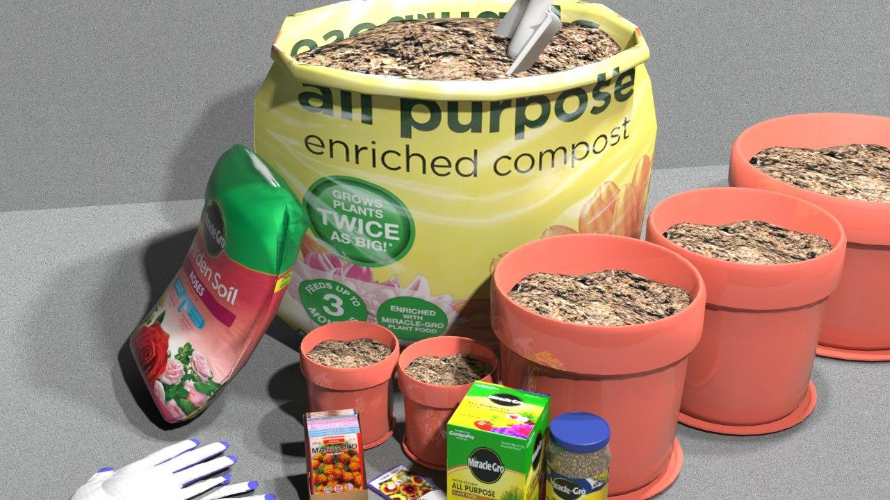 garden potting mix 3D
