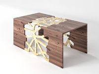 Geometrical Branching Coffee Table Walnut