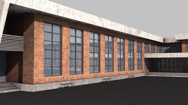 3D school building architecture