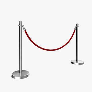3D model rope barrier post