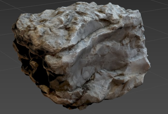 3D fossilized white stone model