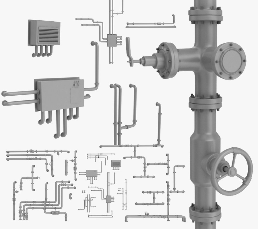 3D pipe assembly pack industrial model