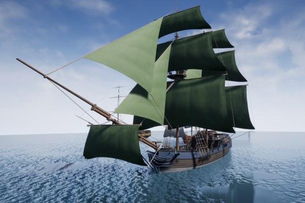 ship liberty brig 3D model