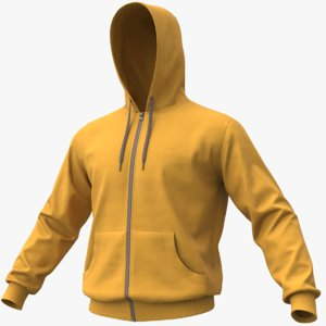 3D realistic yellow hoodie 01