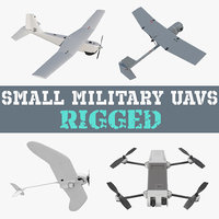 3D model small military uavs rigged