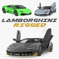 Rigged Lamborghini Cars 3D Models Collection