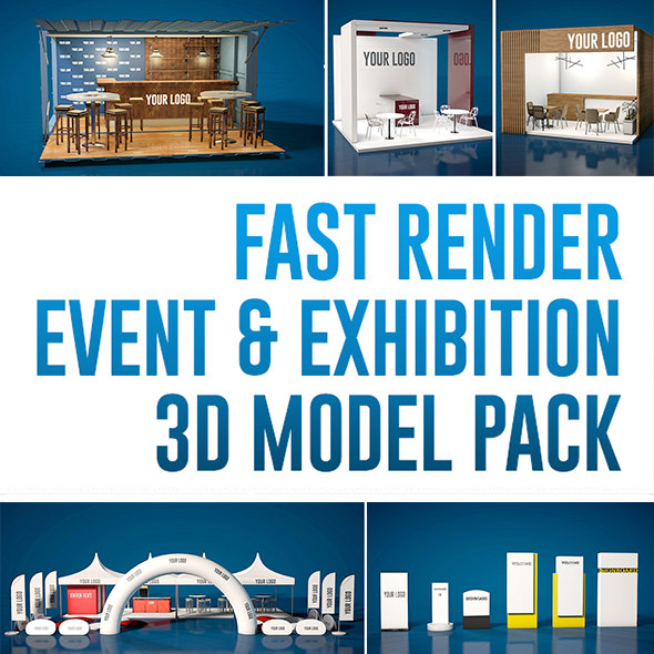 3D event exhibition pack modeled