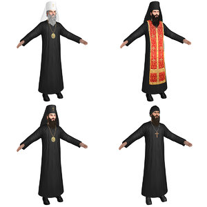orthodox priests monks 3D model