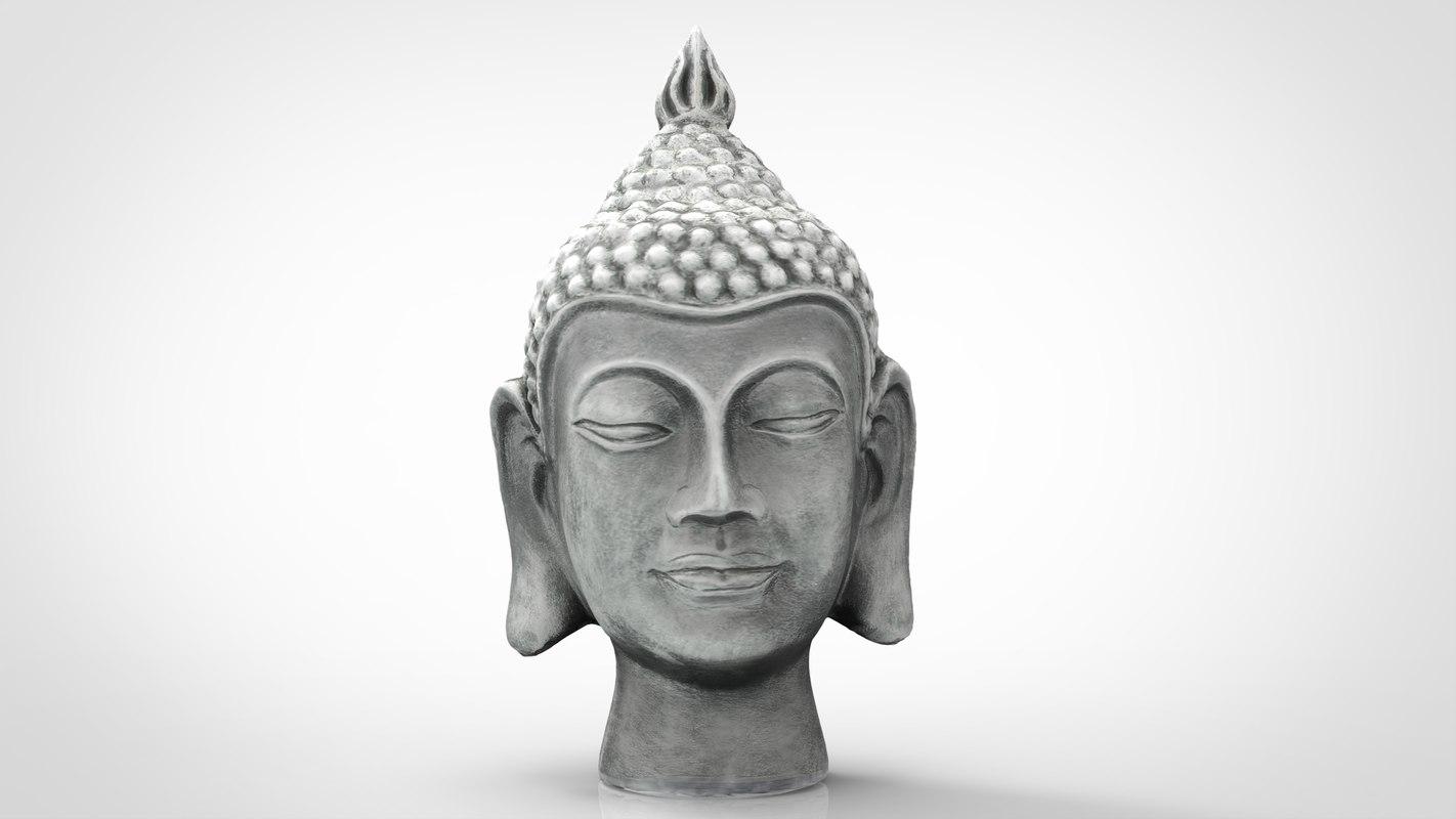 3D silver buddha head model