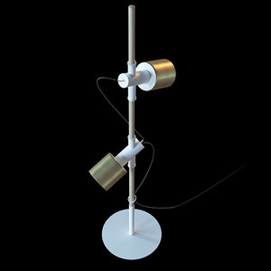 3D model floor lamp metal brass
