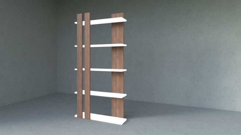 wooden shelves 3D model