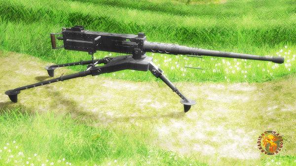 m2 browning machine gun 3D model