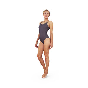 3D swimming girl human