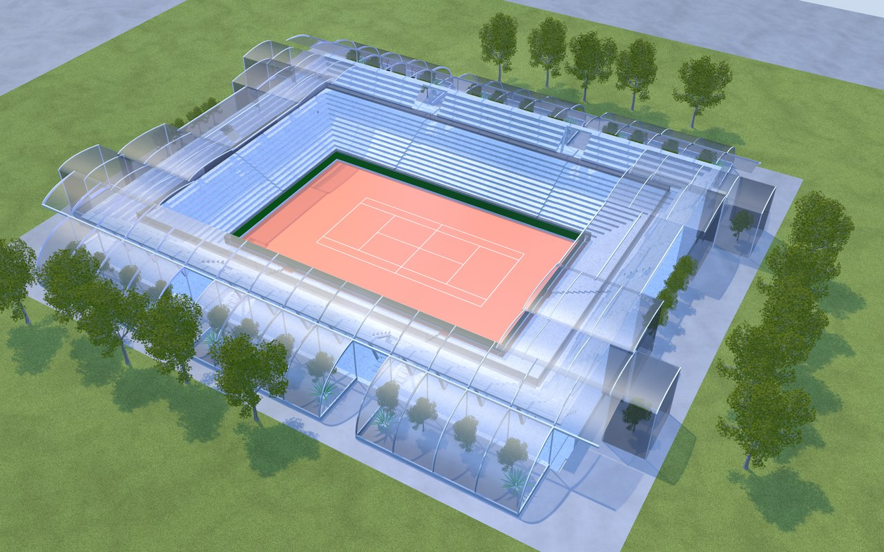 3D tennis stadium roland garros