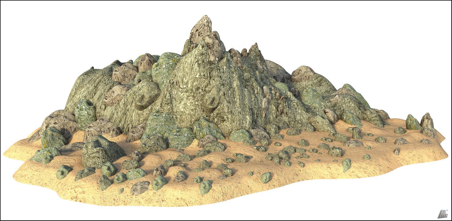 3D model mountain rock