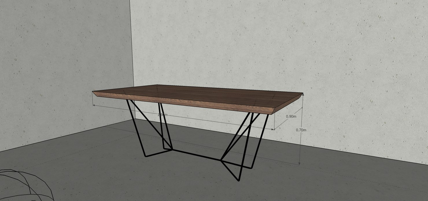 3D wooden dining table gemma model