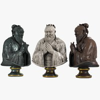 3D confucius bust model