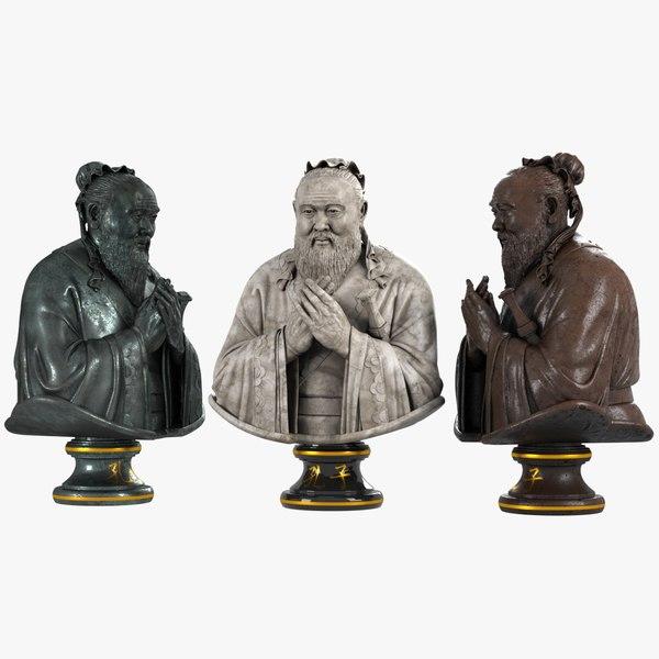 3D confucius bust model