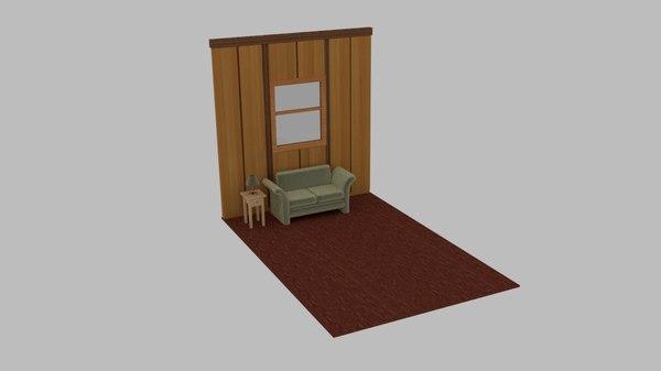 3D wood living scene lounge model