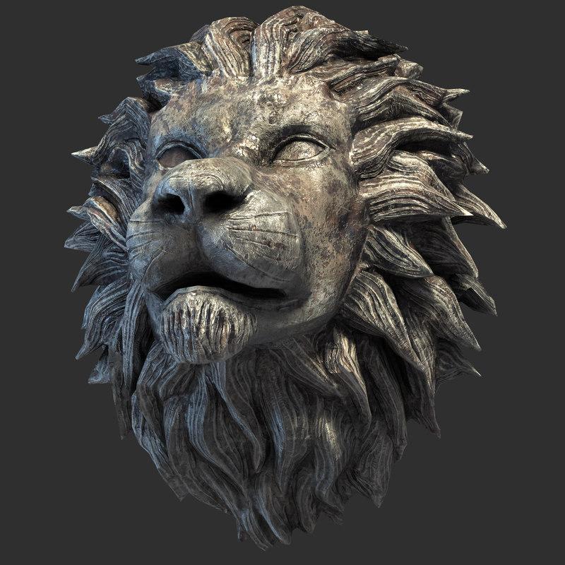 3D lion head sculpture model