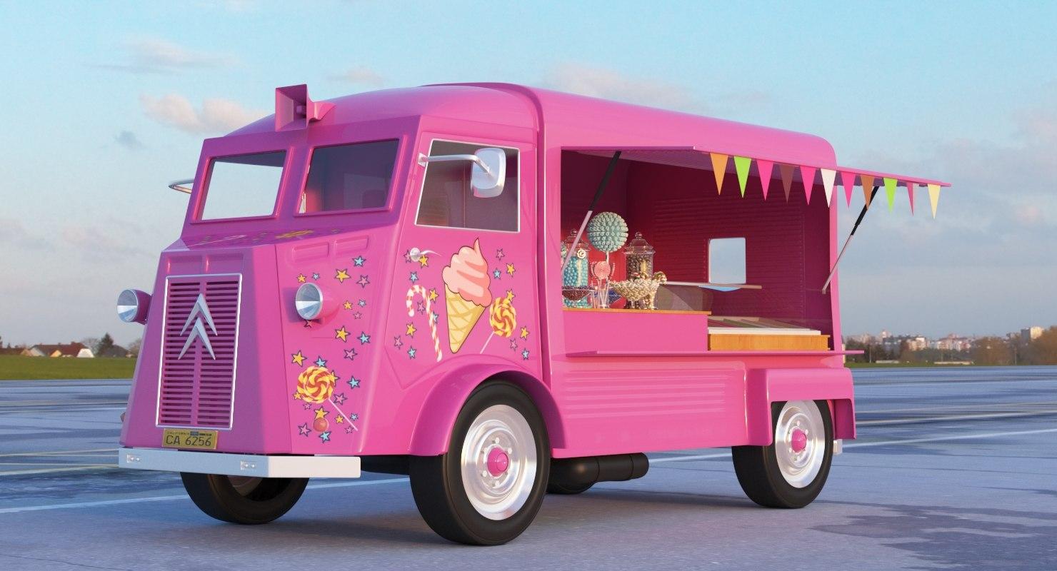 ice cream candy truck 3D