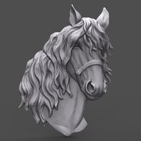 bas relief horse head 3D model