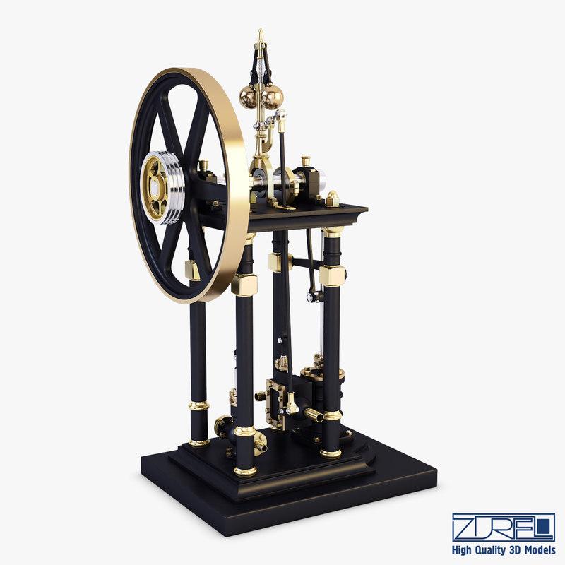 3D model vertical steam engine v